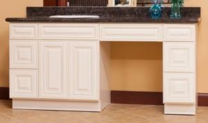Charleston Antique White vanity cabinets