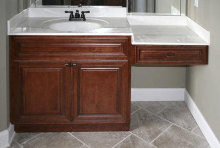 Mocha Glaze vanity cabinets