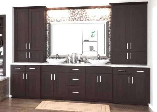 Shaker Mocha Vanity Cabinets